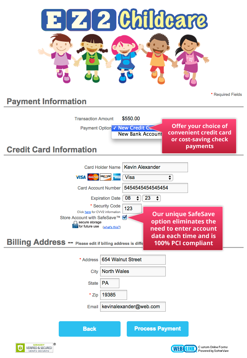 Sample EZCare Online Childcare Forms - Online child care invoice
