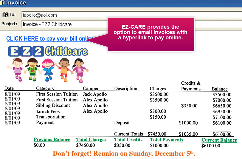 Emailed Childcare Invoice