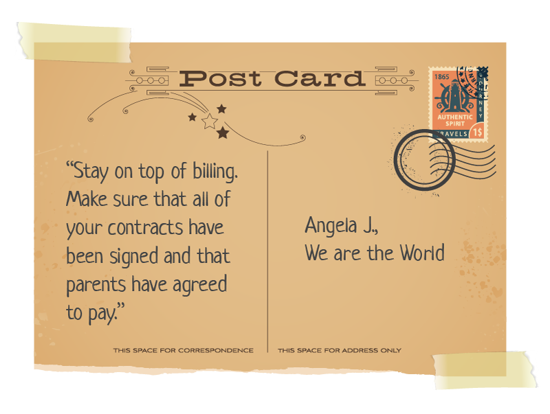 postcard with Angela quote
