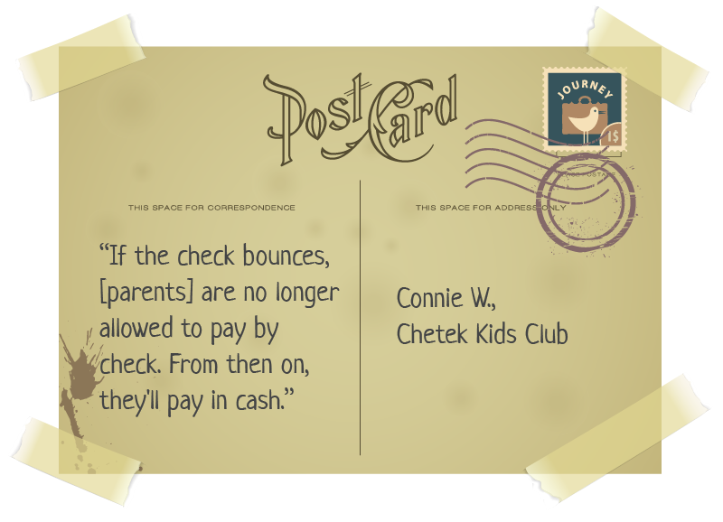 postcard with quote for childcare tuition and payment article