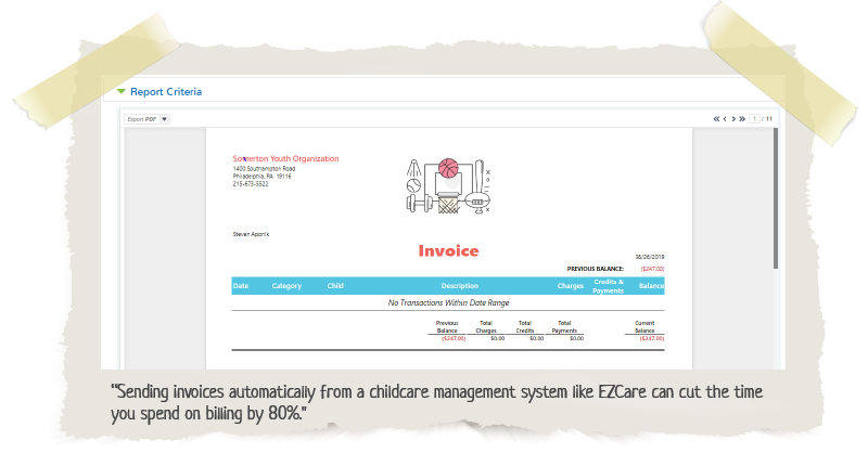 invoice using EZCare Childcare Management Software