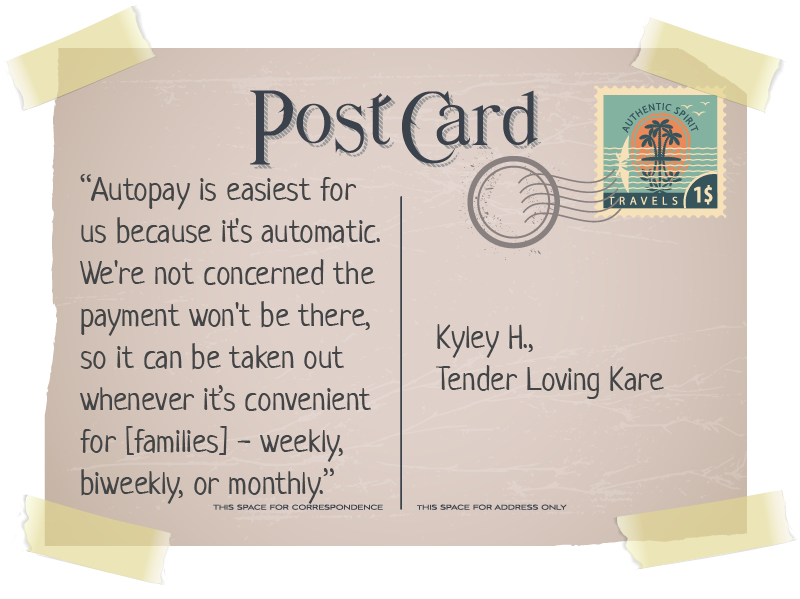 autopay quote on postcard
