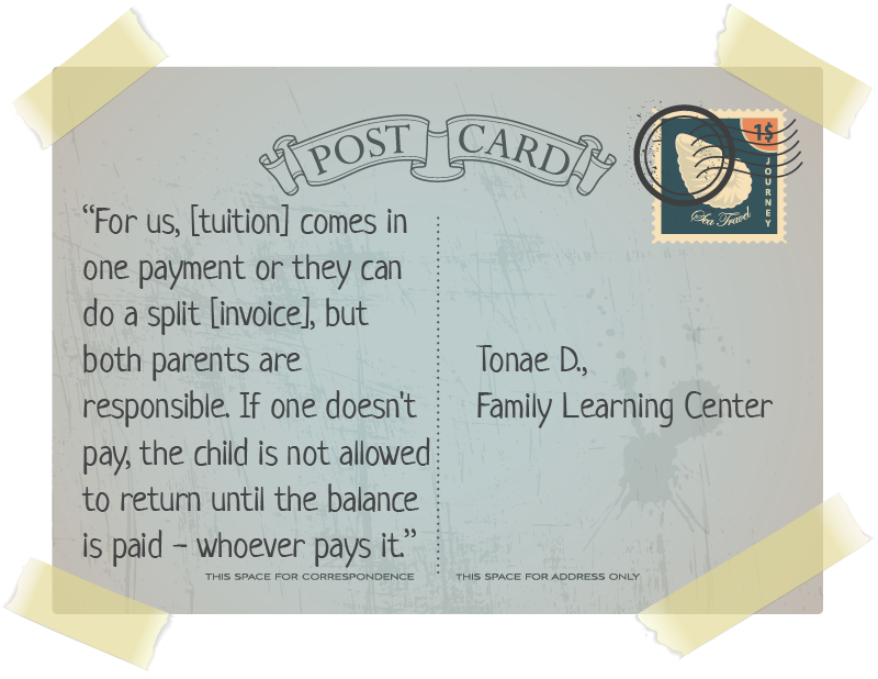 quote on postcard about family tuition billing
